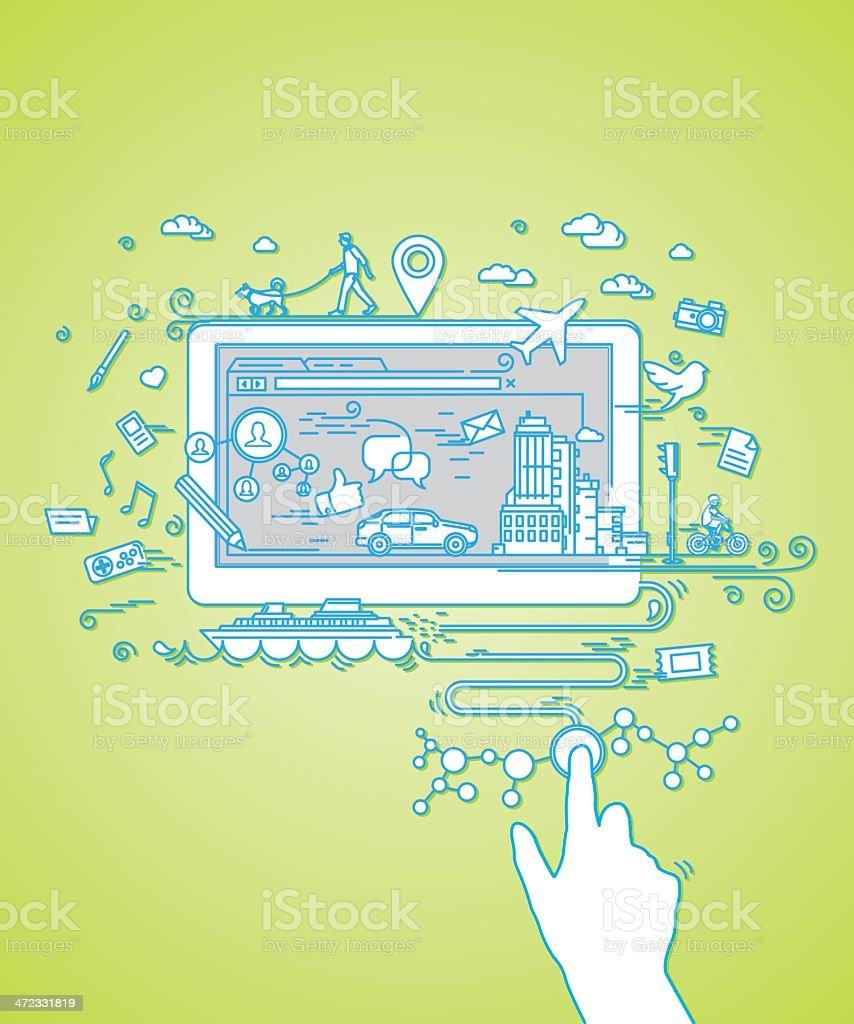 Tablet computer vector art illustration