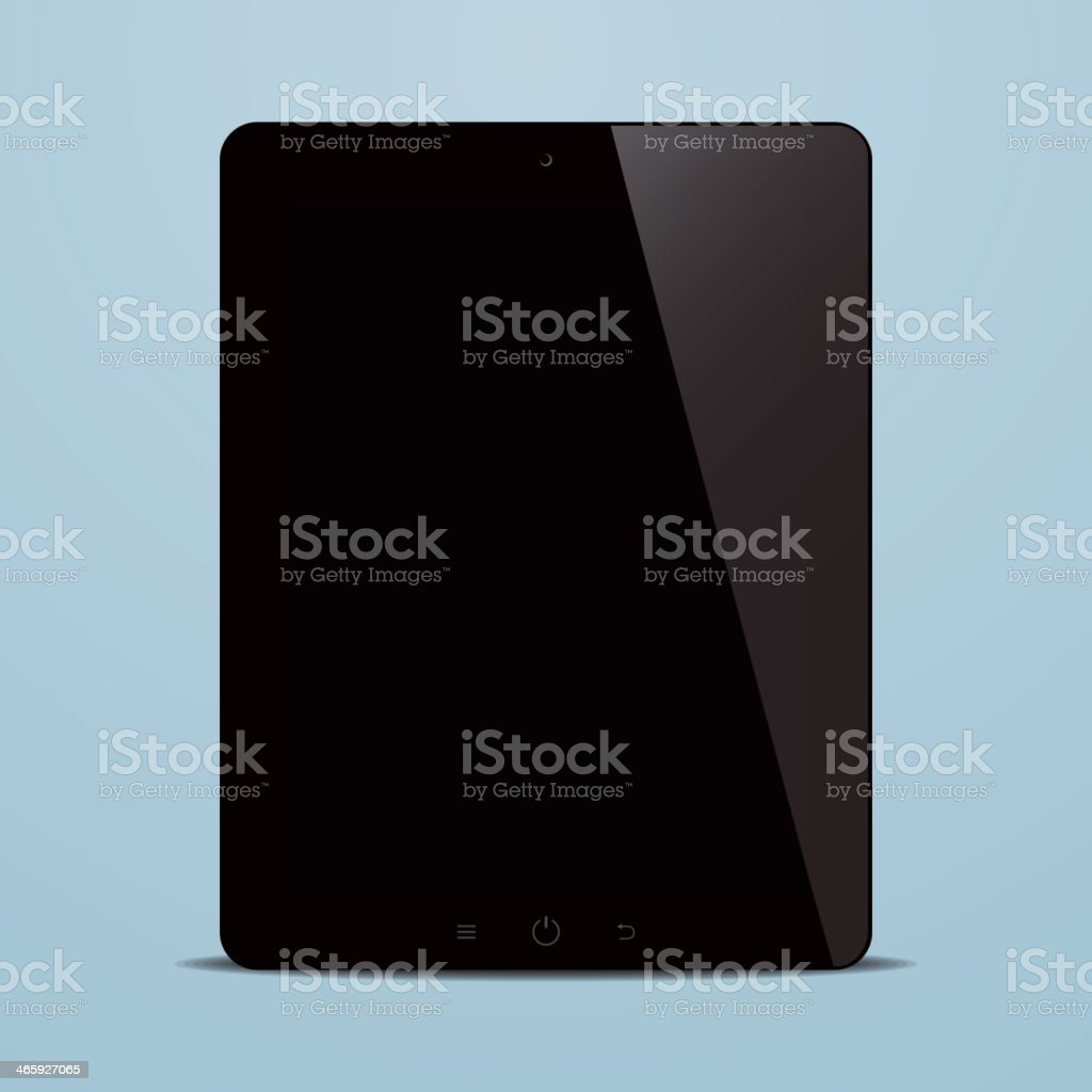 tablet computer with black screen on blue background royalty-free stock vector art