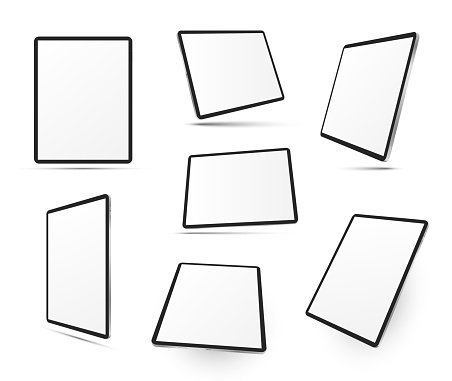 Tablet computers in different positions realistic mock ups set. Top, side, three quater, perspective view. Mobile devices with touchscreen display. Copy space. Vector templates collection on white.