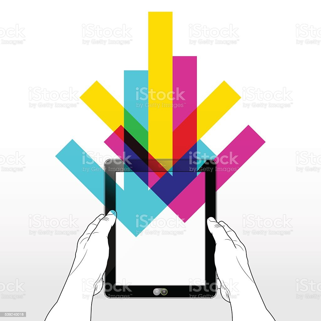 Tablet Download royalty-free tablet download stock vector art & more images of cloud computing