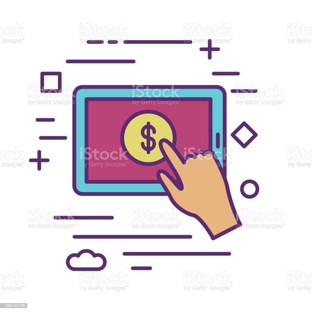Ilustración de Tablet E Donaciones Caridad Y Donación