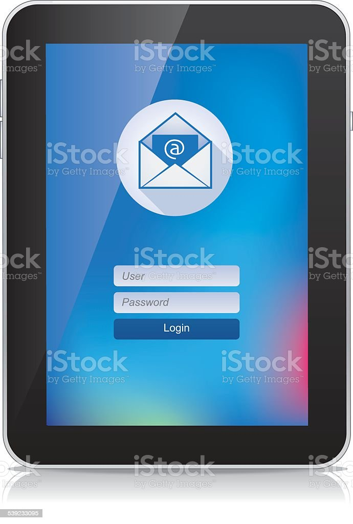 Tablet E-mail Flat Design Colored royalty-free tablet email flat design colored stock vector art & more images of 2015