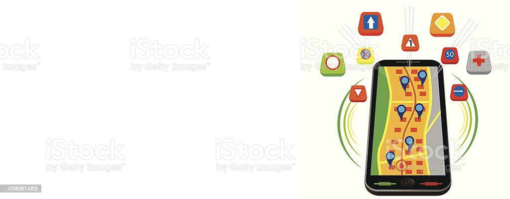 Tablet for map navigation royalty-free stock vector art