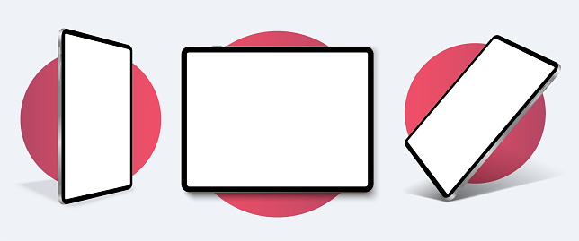 Tablet frame less blank screen, rotated position. Tablet from different angles. Mockup generic device set. . UI/UX  Template for infographics or presentation 3D realistic graphics tablet.