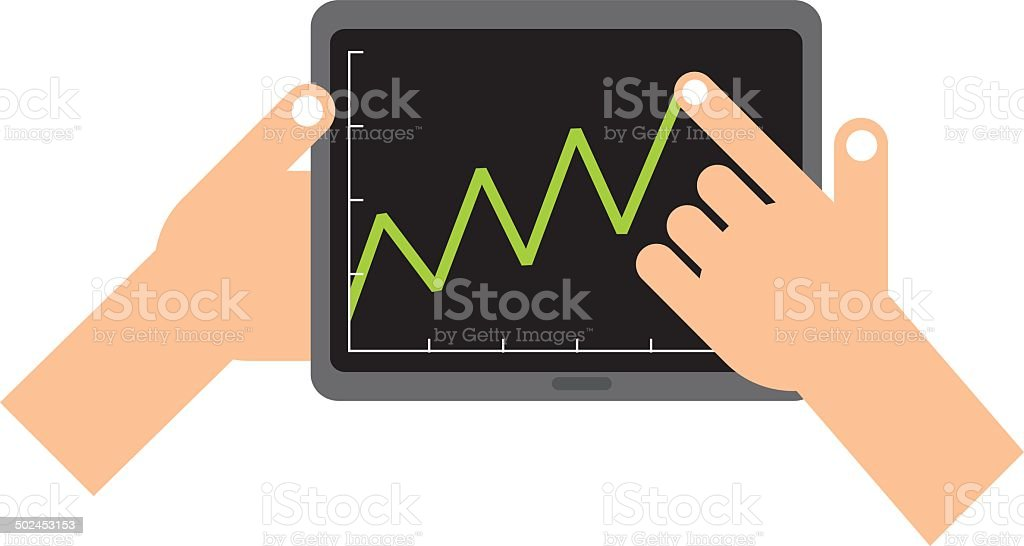 Tablet graph royalty-free stock vector art