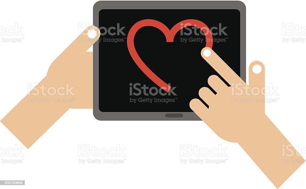 Tablet heart royalty-free stock vector art