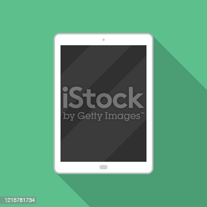 istock Tablet icon in a flat design with long shadow 1215781734