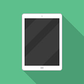 Tablet icon in a flat design with long shadow