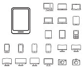 Tablet icon in set on the white background.  Set of thin, linear and modern electronic equipment icons.