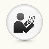 Tablet Icon on simple white round button. This 100% royalty free vector button is circular in shape and the icon is the primary subject of the composition. There is a slight reflection visible at the bottom.