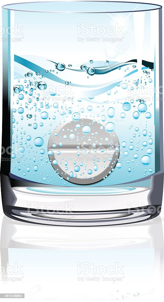 Tablet in glass of water vector art illustration