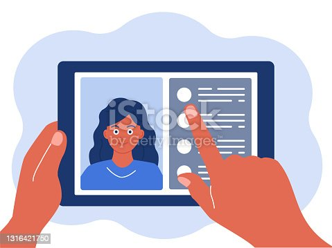 istock Tablet in hand, chat online. The concept of virtual communication. Vector illustration in a flat style isolated on a white background 1316421750