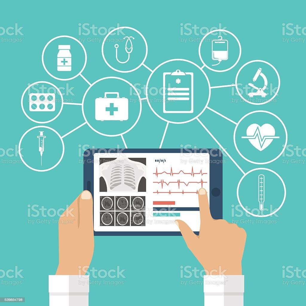 Tablet in hands of doctor vector art illustration