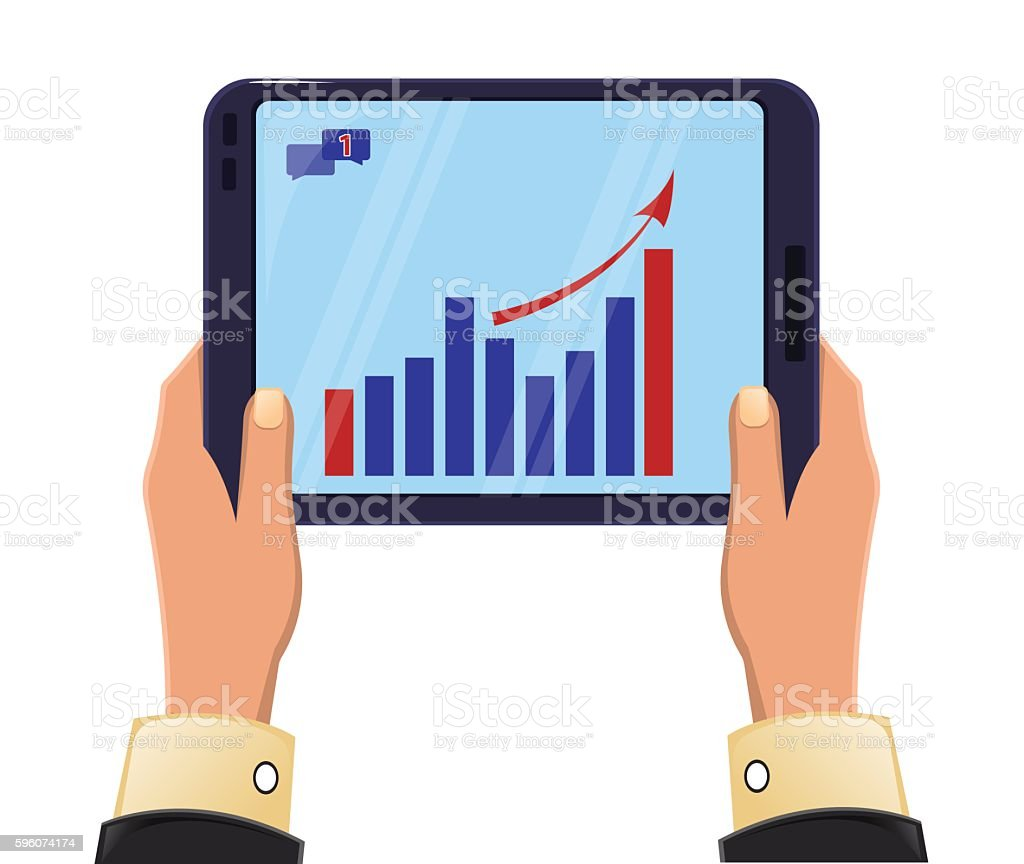 Tablet in man's hands.  Growing graph. Icon modern technologies. royalty-free tablet in mans hands growing graph icon modern technologies stock vector art & more images of activity