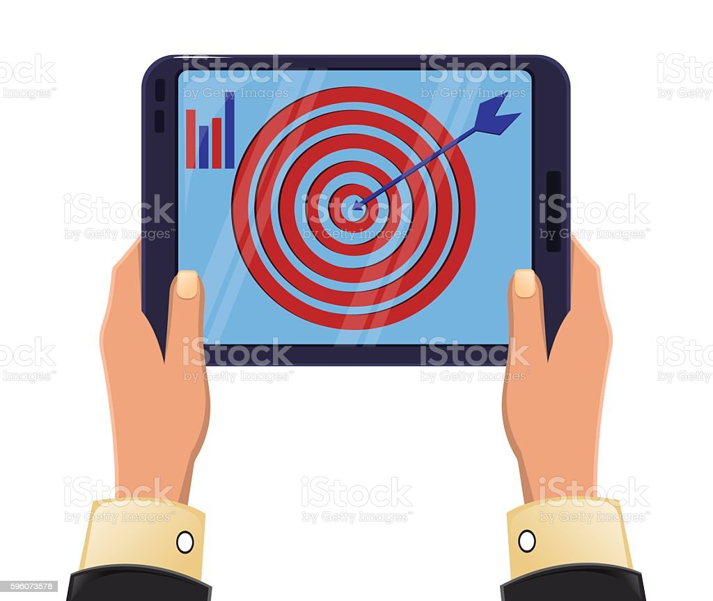 Tablet in man's hands. Objective reached. Icon modern technologies. royalty-free tablet in mans hands objective reached icon modern technologies stock vector art & more images of activity