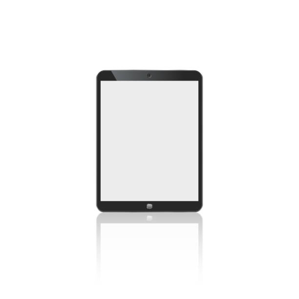 tablet in ipad style black color with blank touch screen isolated on white background. stock vector illustration - ipad stock illustrations