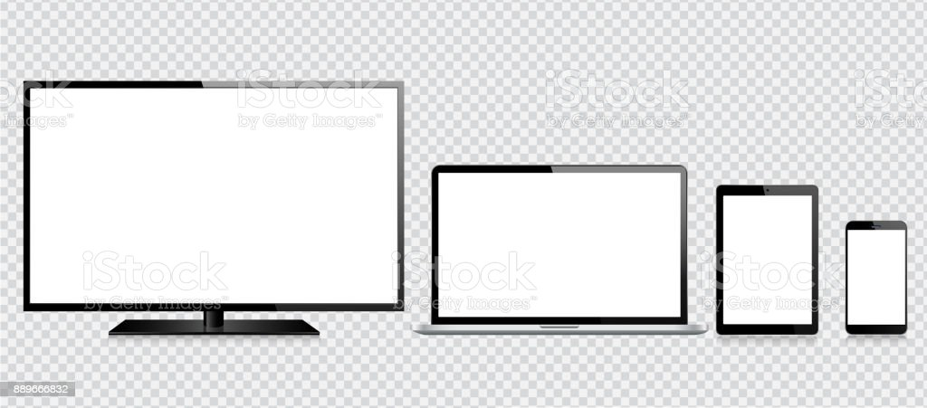 Tablet, Mobile Phone, Laptop and Monitor vector art illustration