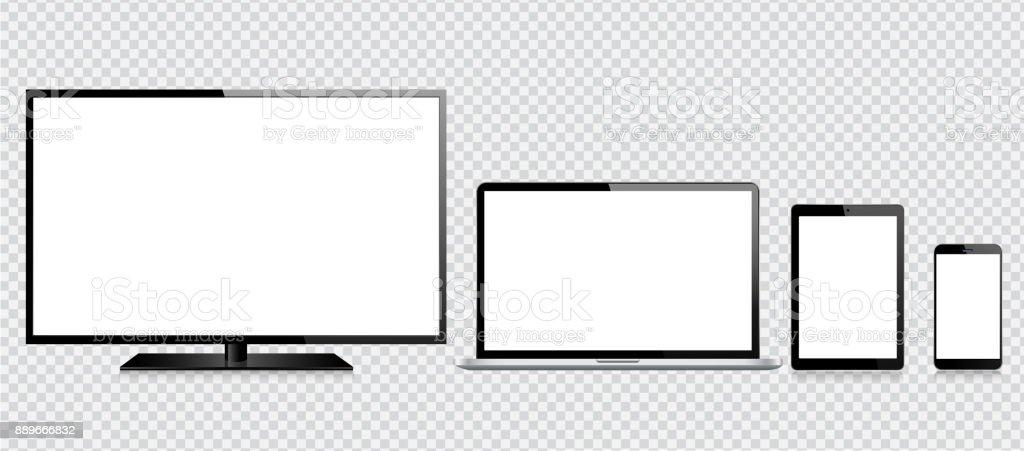 Tablet, teléfono móvil, ordenador portátil y el Monitor - ilustración de arte vectorial