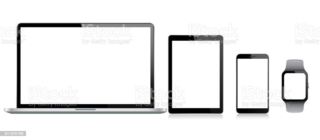 Tablet, Mobile Phone, Laptop and Smart Watch vector art illustration
