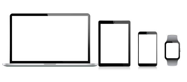 tablet, handy, laptop und smart watch - tablet pc stock-grafiken, -clipart, -cartoons und -symbole