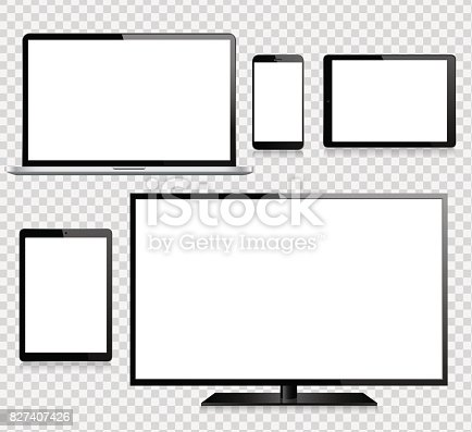 Vector tablet, mobile phone, laptop, TV and monitor