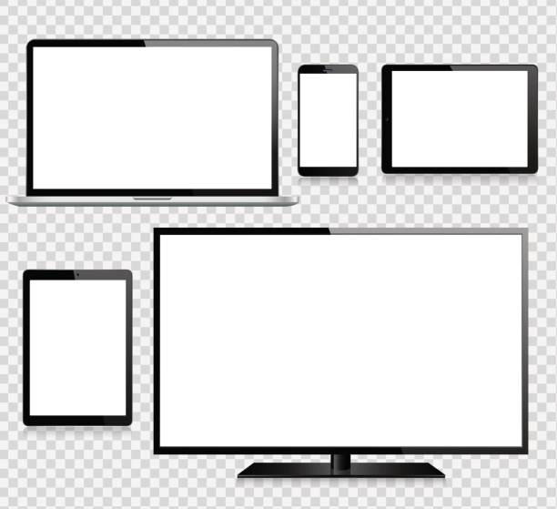 tablet, handy, laptop, tv und monitor - tablet pc stock-grafiken, -clipart, -cartoons und -symbole