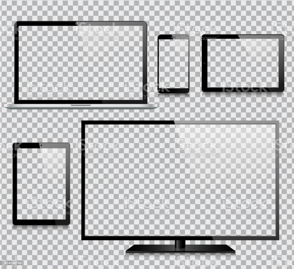 Tablet, Mobile Phone, Laptop, TV and Monitor vector art illustration