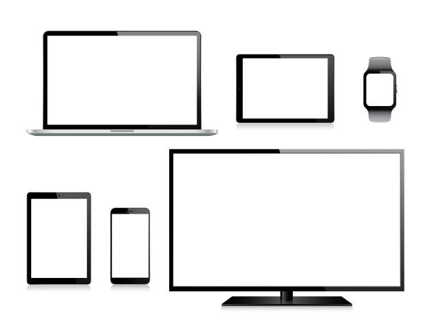 tablet, handy, laptop, tv und smart watch - tablet pc stock-grafiken, -clipart, -cartoons und -symbole