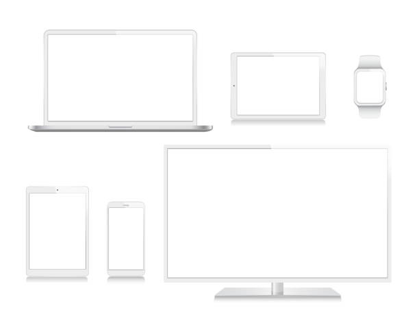 Tablet, Mobile Phone, Laptop, TV and Smart Watch vector art illustration