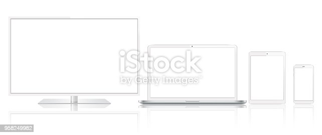 Vector tablet, mobile phone, laptop, TV and smart watch