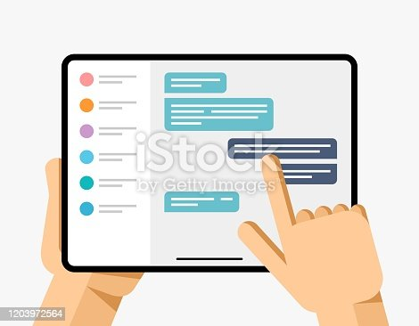 Flat vector concept technology illustration of gadget mockup in human hand with application on the screen