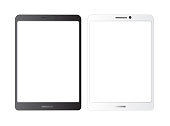 Tablet  mockup.white isolated vector screen.Black and white blank screens.  Showcase screenshots.Responsive to display your mobile web site design.