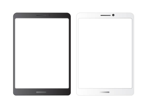 tablet  mockup.white isolated vector screen.black and white blank screens.  showcase screenshots.responsive to display your mobile web site design. vector illustration - tablet stock illustrations