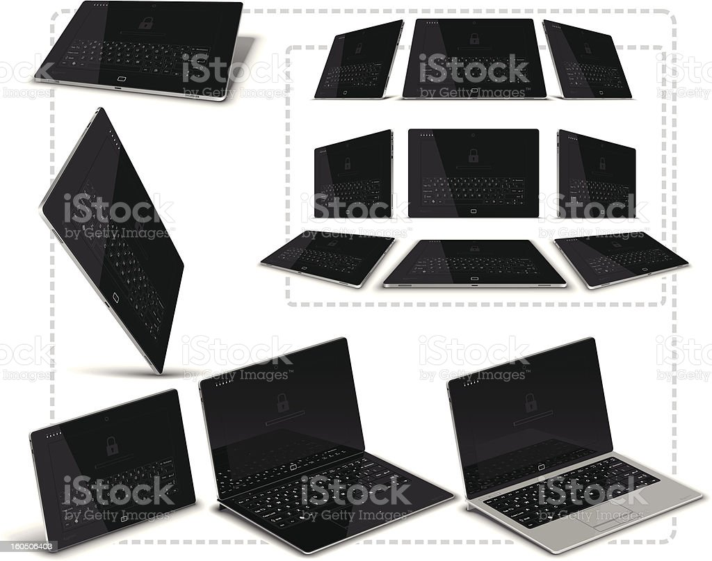 PC Tablet Multiple Views royalty-free pc tablet multiple views stock vector art & more images of 3g