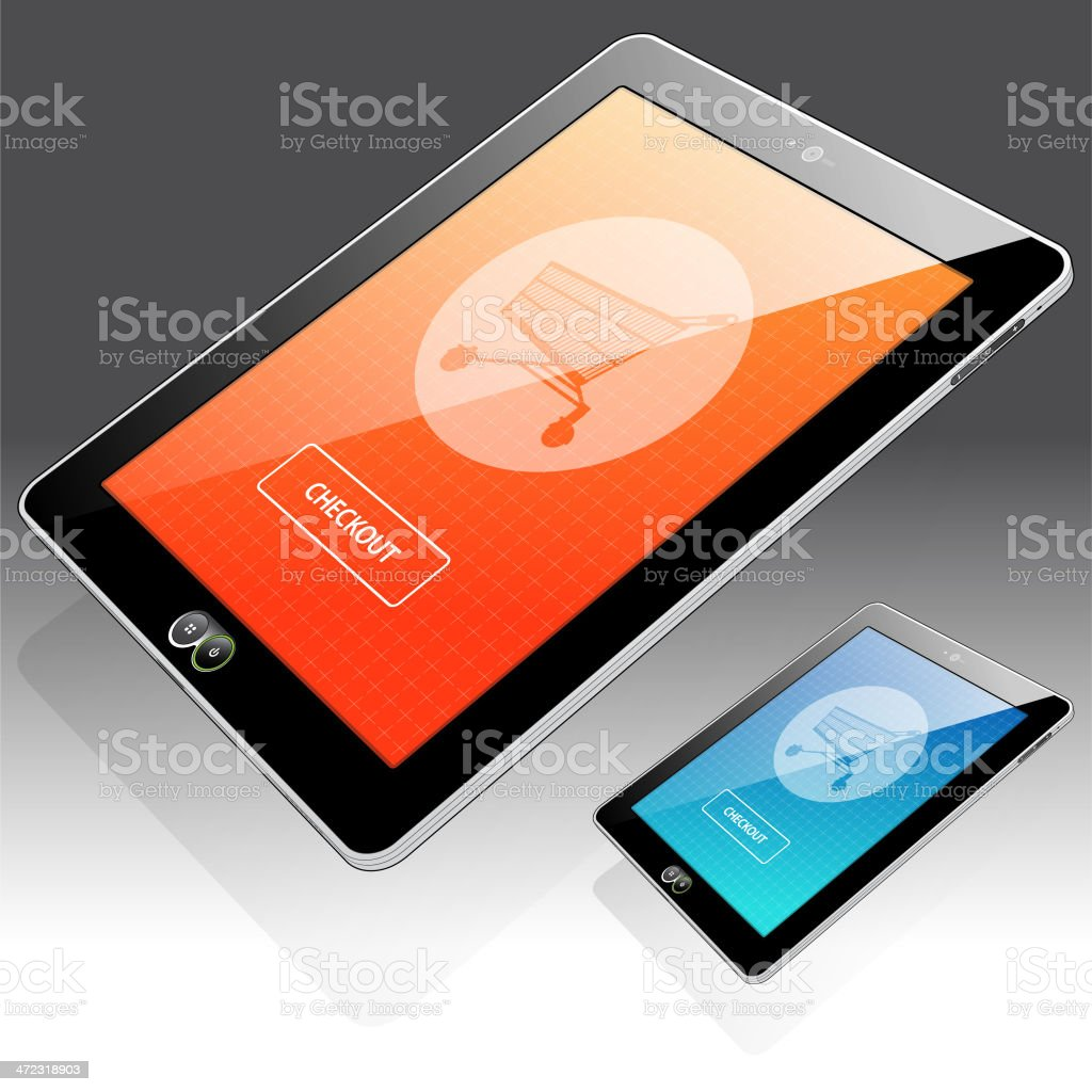 Tablet Online Shopping - Right side view royalty-free stock vector art