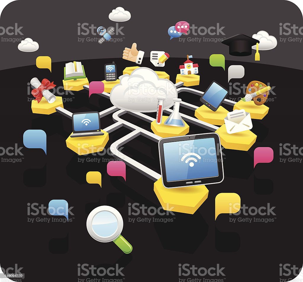 tablet pc & education concept royalty-free stock vector art