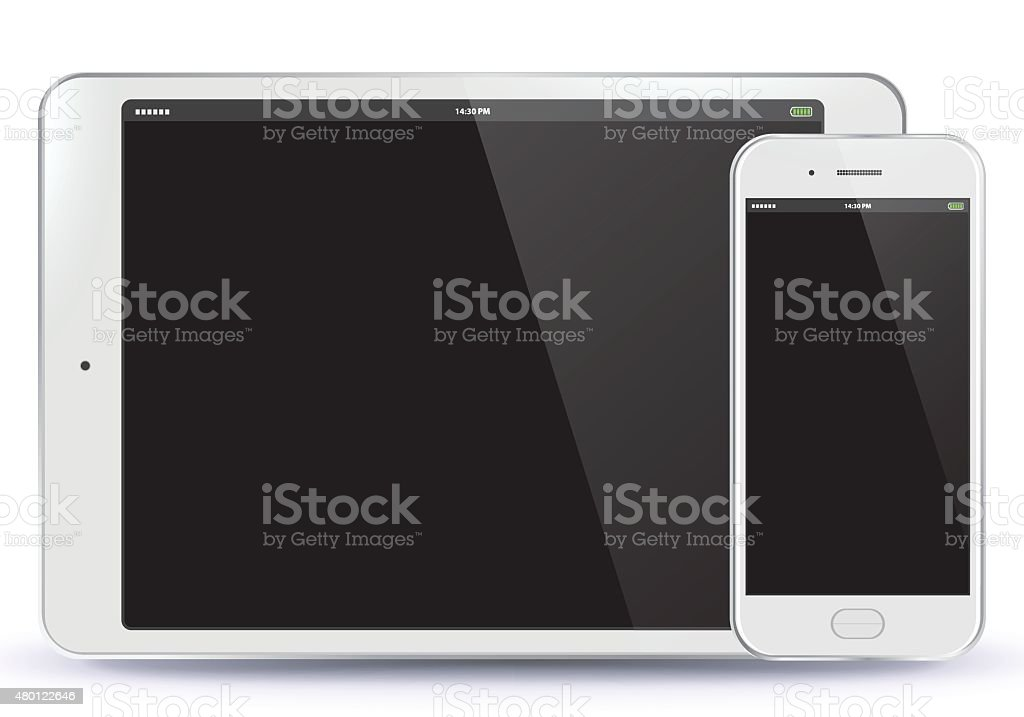 Tablet PC and Mobile Phone vector art illustration