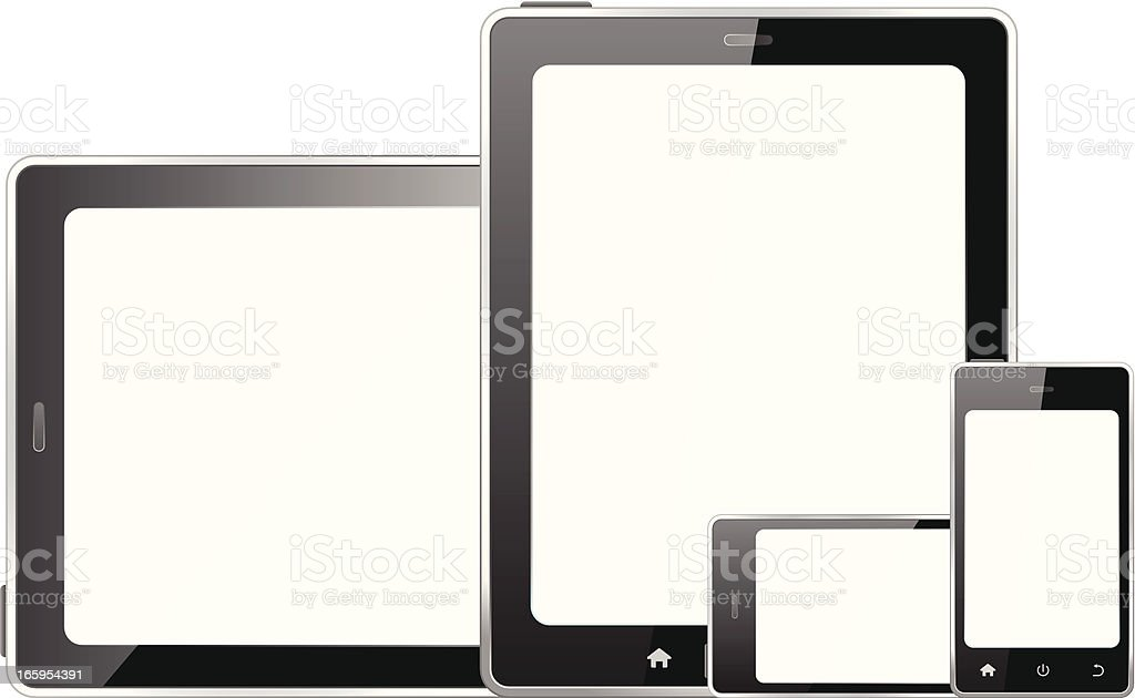 Tablet pc and smart phone isolated on white background royalty-free stock vector art