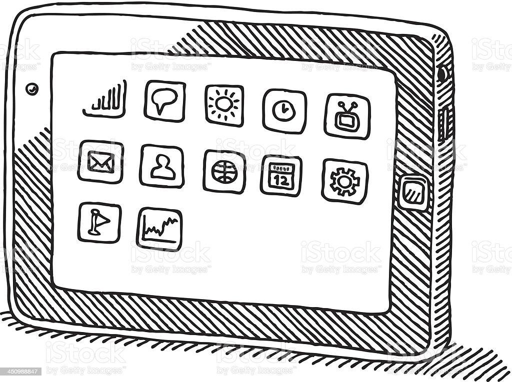 Tablet PC App Icons Bright Screen Drawing vector art illustration