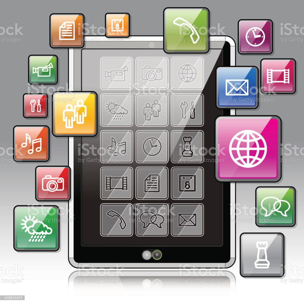 Tablet PC Apps royalty-free stock vector art