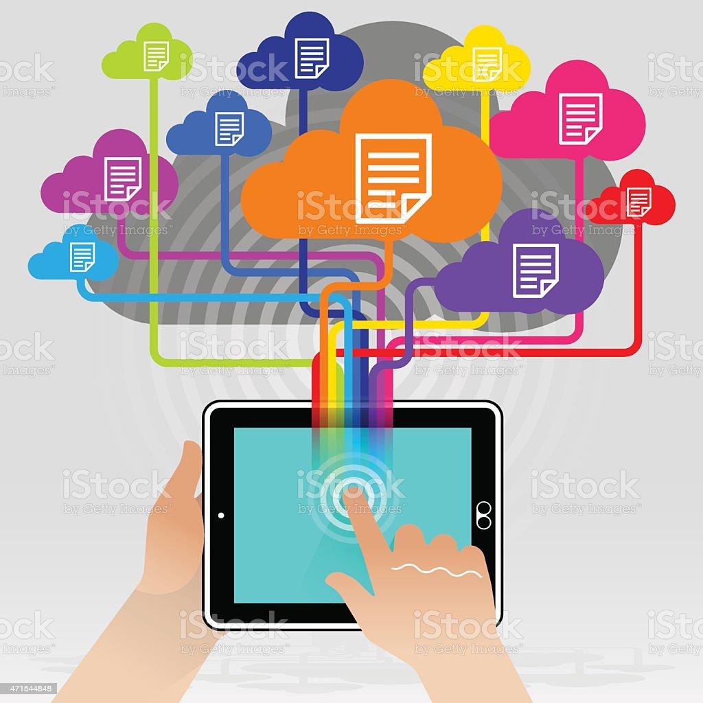 Tablet PC Cloud Stored Documentation vector art illustration