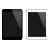 Vector illustration of 2 tablet PCs in black and white.