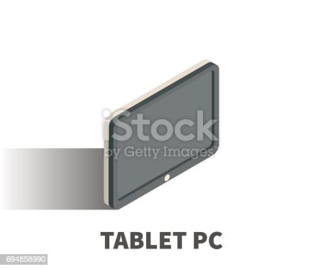 Tablet Pc Icon Vector Symbol In Isometric 3d Style Isolated On White