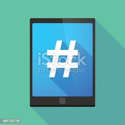 Illustration of a tablet pc icon wit a hash tag