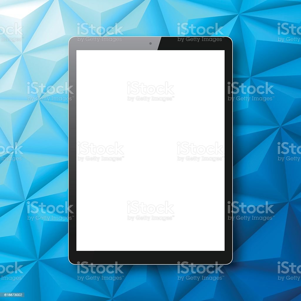 Tablet PC isolated on Abstract Polygonal Background, Low Poly, Geometric vector art illustration