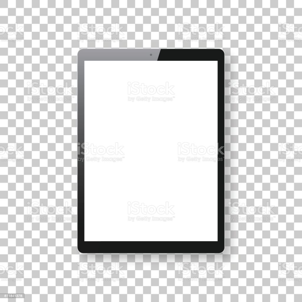 Tablet Pc isolated on blank background - Tablet Pc Template vector art illustration