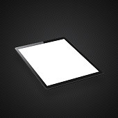 Realistic tablet pc with blank screen isolated on an carbon metallic background (carbon fiber texture).