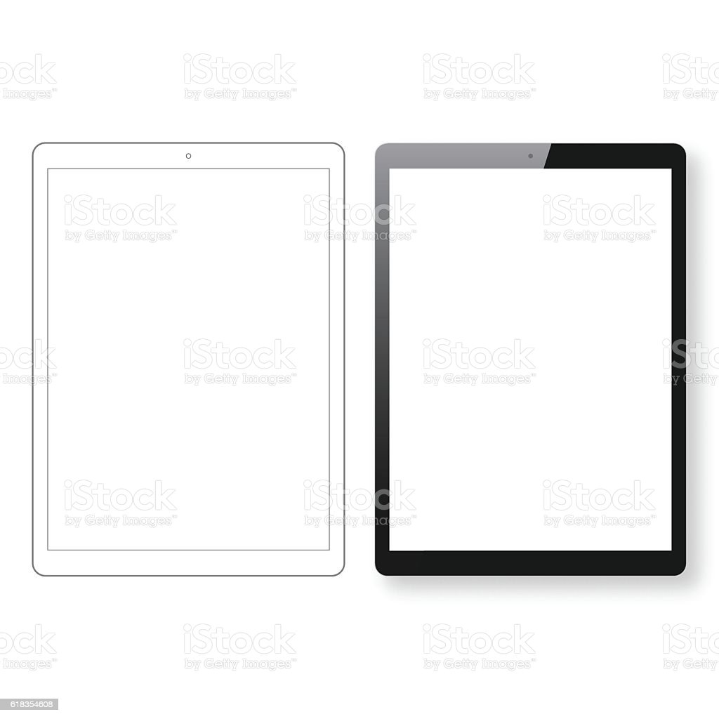 Tablet Pc template and Digital Tablet outline isolated white background vector art illustration