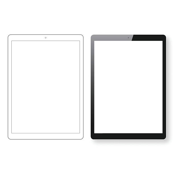 tablet pc template and digital tablet outline isolated white background - tablet pc stock-grafiken, -clipart, -cartoons und -symbole