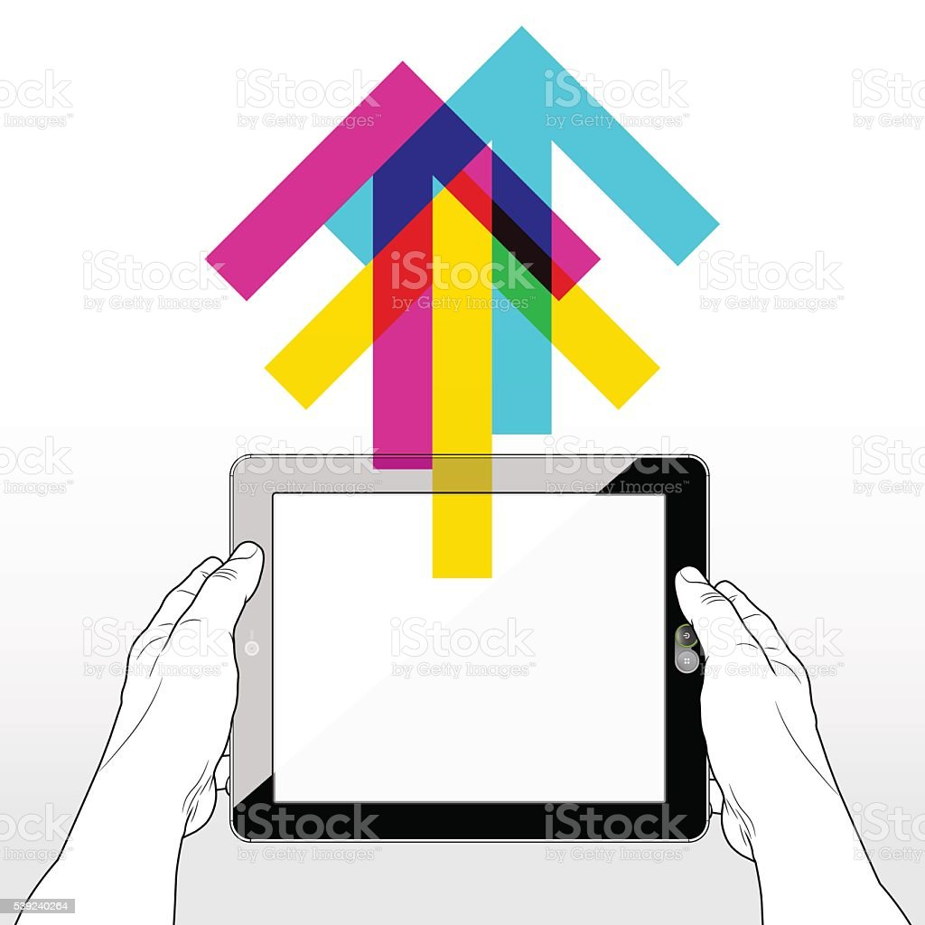 Tablet PC Upload royalty-free tablet pc upload stock vector art & more images of cloud computing